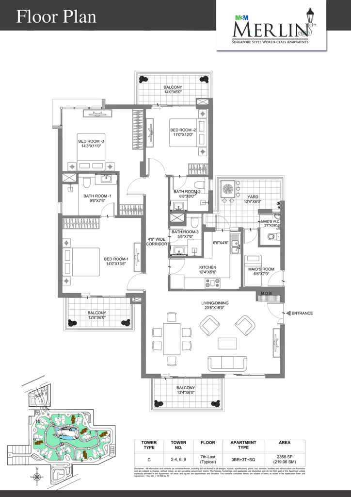 m3m merlin-3bhk-floor-plan-2358-sqft
