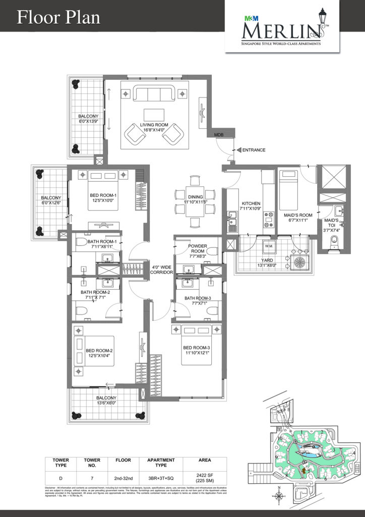 m3m merlin-3bhk-floor-plan-2422-sq