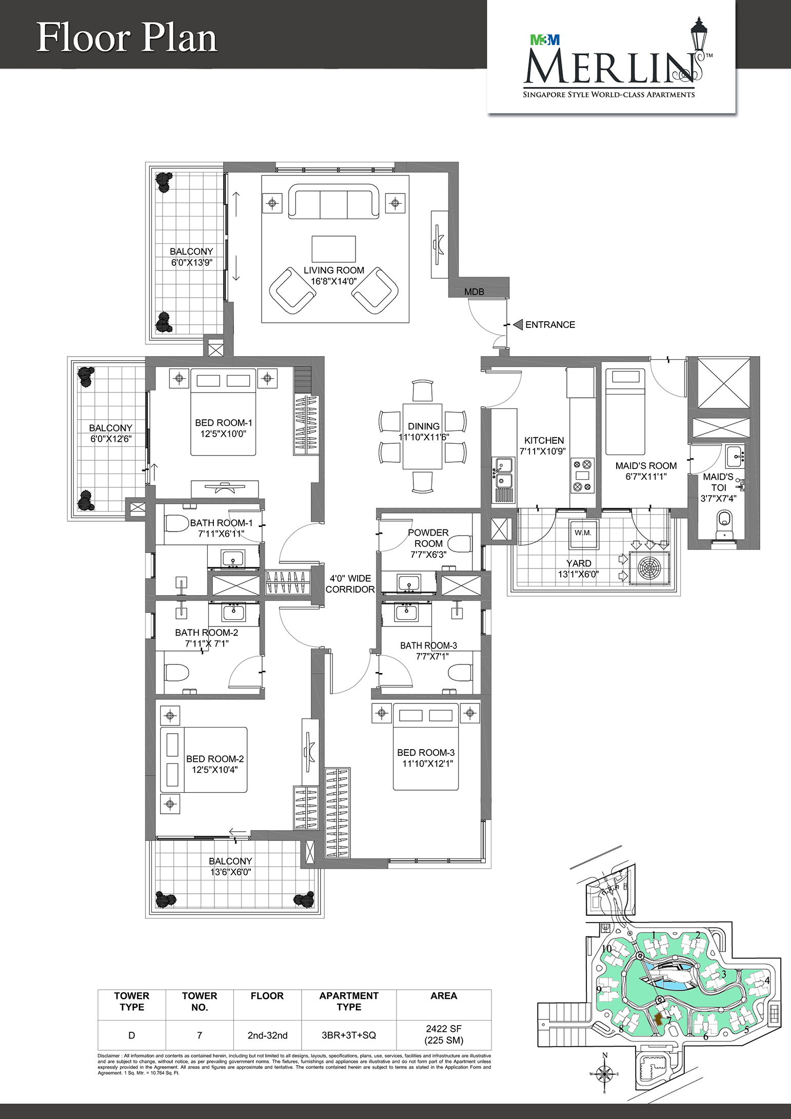 M3m merlin sector 67 gurgaon residential project for Floor plan project