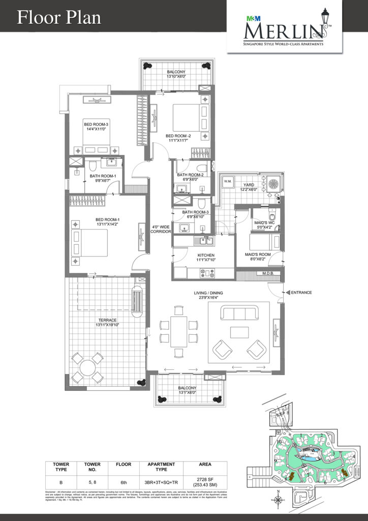 m3m merlin-3bhk-floor-plan-2728-sq
