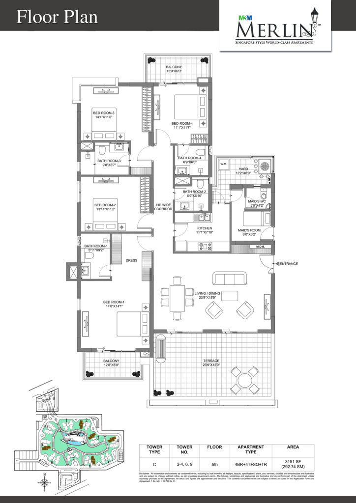 m3m merlin-4bhk-floor-plan-3151-sq