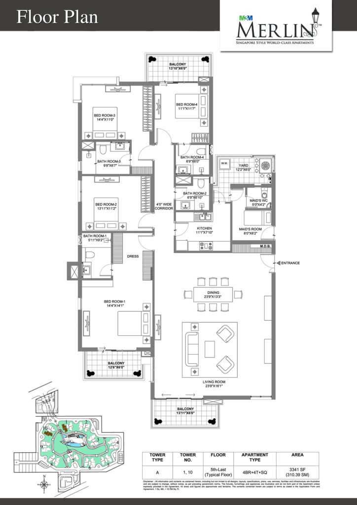 m3m merlin-4bhk-floor-plan-3341-sq
