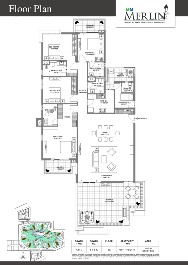 m3m merlin-4bhk-floor-plan-3865-sq