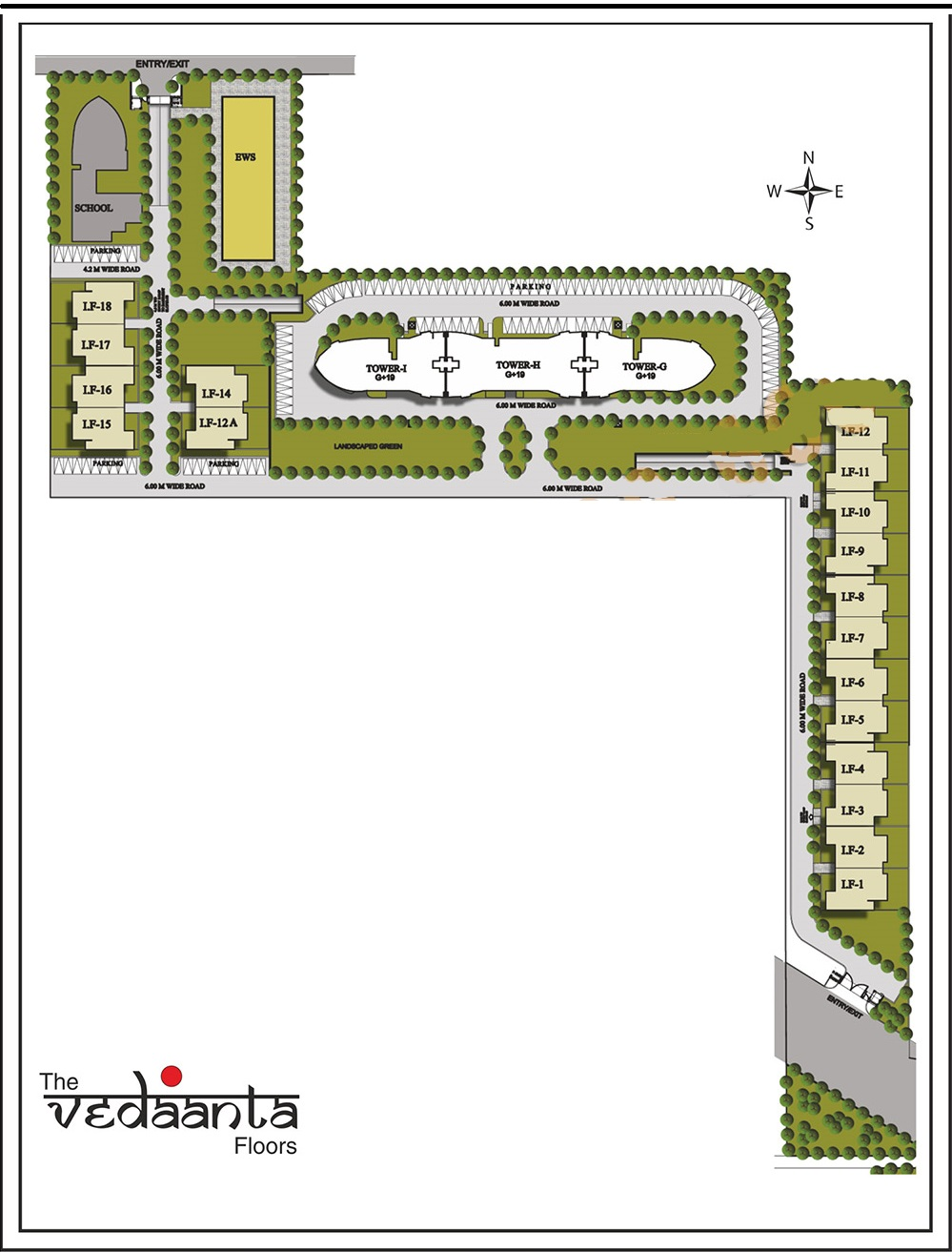 Site Plan of Raheja Vedaanta Floors