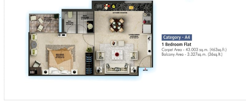 Avl 36 Gurgaon 1 bhk Floor Plan