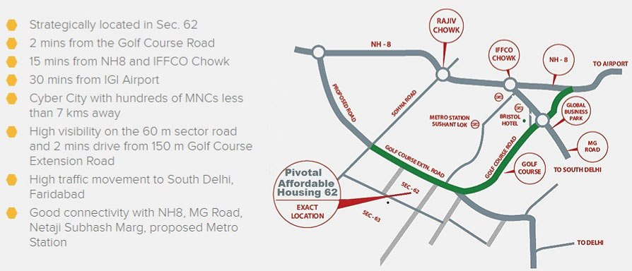 Pivotal Affordable Housing Gurgaon Sector 62 Location Map