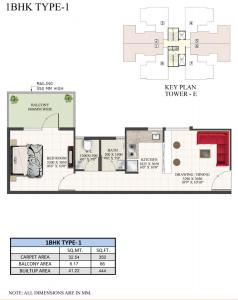 1 BHK Type 1 Floor Plans Supertech The Valley